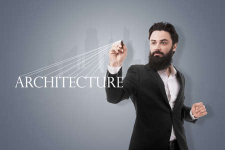 portrait of a bearded man writing with stylus inscription architecture, over modern city skyline  illustration Фото со стока