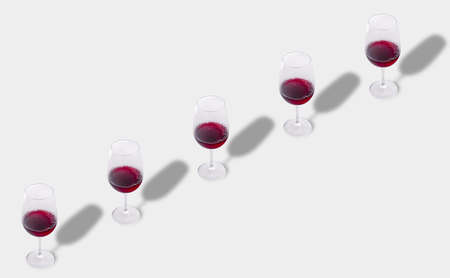 Minimal composition background of red wine glasses