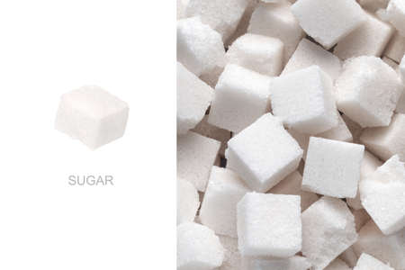 Creative layout made of sugar cubes, sweet concept Banco de Imagens