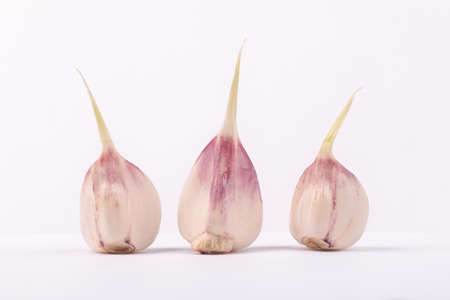 head of young garlic and cloves on a gray background