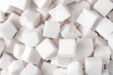 White Sugar cubes (full frame image) for use as background image or as texture Banco de Imagens