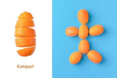 Creative layout made of man figure made of kumquat fruits on blue background