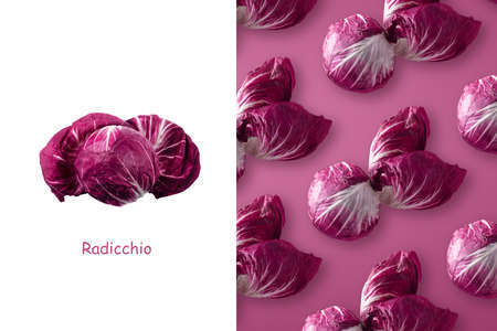 Creative layout made of red radicchio over purple background. Minimalism concept, panoramic image