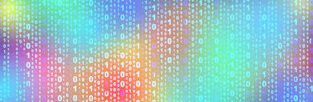 illustration of colorful binary code, panoramic image Imagens - 129646370