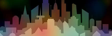 illustration of colorful night city silhouette, metropolis, urban landscape in flat style
