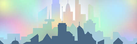 illustration of  silhouette of a colorful disco city, urban landscape in flat style Фото со стока