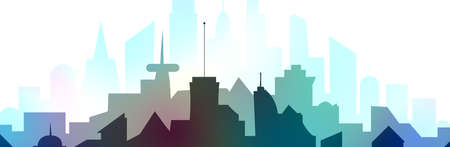 illustration of  silhouette of a colorful metropolis, urban landscape in flat style