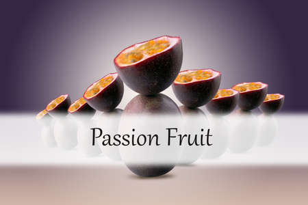 group of half sliced passion fruits balancing on whole passion fruits with Passion Fruit inscription on violet background 写真素材