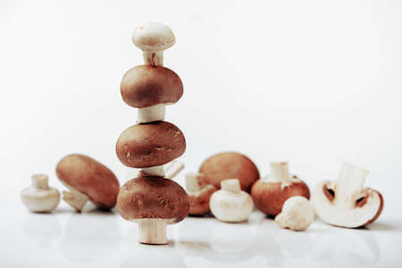 fresh brown and white mushrooms on gray background 写真素材