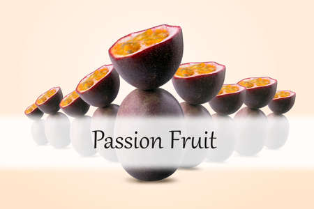 group of half sliced passion fruits balancing on whole passion fruits with Passion Fruit inscription on peach background