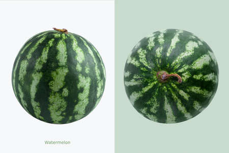 Two watermelons with Watermelon inscription on white and green background