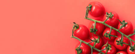 ripe cherry tomatoes with copy space on red background