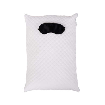 Personofied quilted pillow with sleeping mask isolated on white background. Soft cushion for comfortable sleep and sweet dreaming