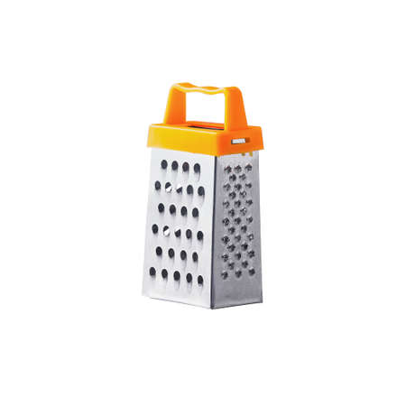 stainless steel grater with orange handle isolated on white background