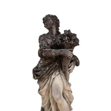 Italian old stone statue isolated on white background Zdjęcie Seryjne