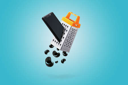 Grated smartphone on blue background. Technology race concept