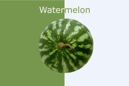 Watermelon with Watermelon inscription on white and green background Zdjęcie Seryjne