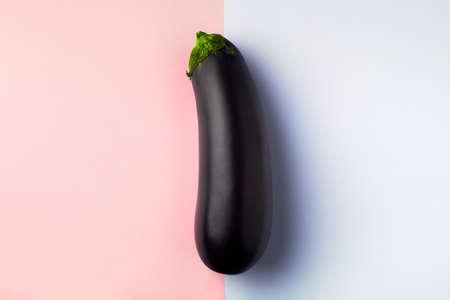 Fresh raw dark purple eggplant on blue pink background, the concept of vegetarianism