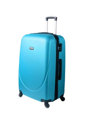 白い背景に孤立した青いスーツケース 写真素材