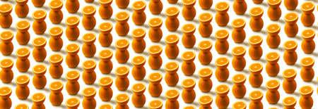 orange fruit pattern isolated on white background, panoramic image
