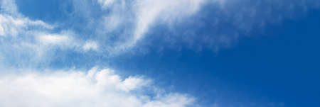 fluffy clouds in the blue sky, panoramic mock- up image