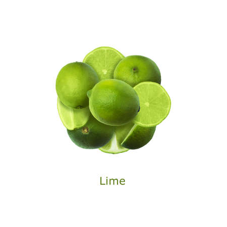 Creative layout made of limes on the white background. Food concept. 写真素材