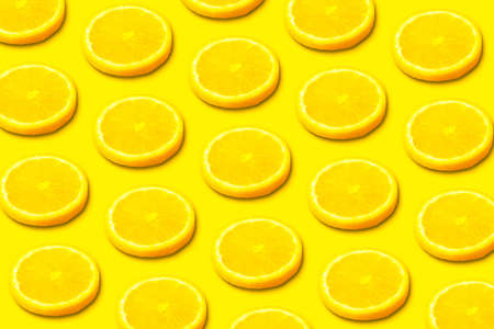 Lemon slice pattern on yellow background