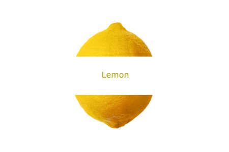 whole ripe lemon citrus fruits with inscription, isolated on white  background