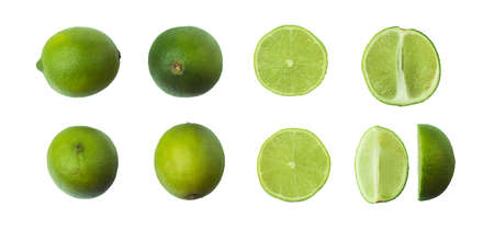 lime fruit set isolated on white background. Clipping Path