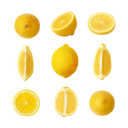 Collection of fresh yellow lemons isolated on white background.