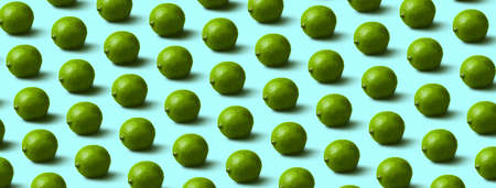 green limes pattern on blue background, panoramic image