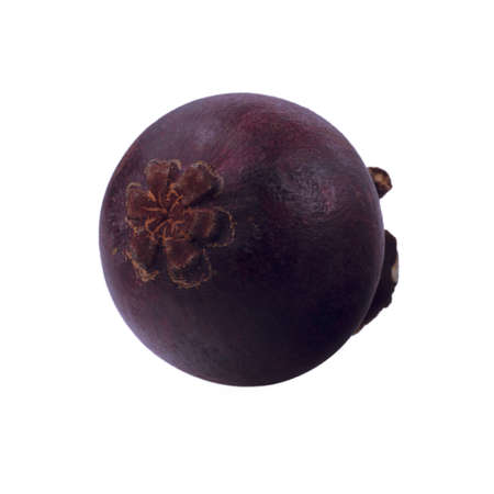 isolated mangosteen on white background, the tropical purple fruit