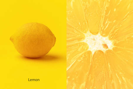 Creative layout made of   lemon on yellow background 写真素材