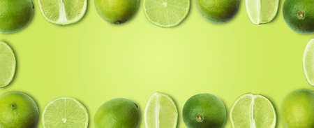 fresh slices lime on a light green background, panoramic mock-up, creative image with space for text