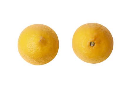 ripe lemon fruit isolated on white backgroud Imagens