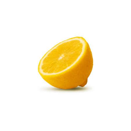 sliced lemon isolated on white background