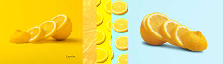 Creative layout made of  slices lemon on bright background, panoramic image