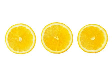 slices of ripe lemon set isolated on white background 写真素材