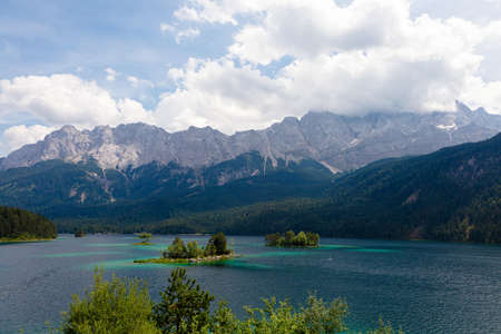 summer mountain landscape by the lake, concept of relaxation in the mountains