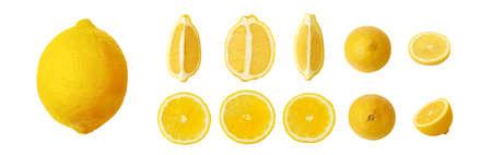 ripe lemon set isolated on white background 写真素材