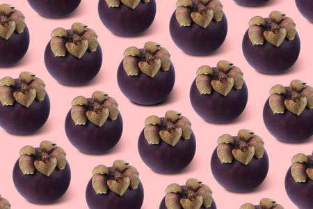 pattern with mangosteen. Exotic fruit. Wallpaper, print,  modern design 写真素材