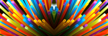 colored straws for drinks, panoramic image, accessories for summer cocktail 写真素材