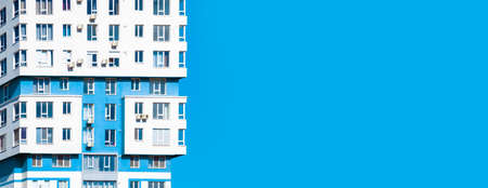 horizontal photo of a ready multi-apartment complex background image on a sky background, panoramic mock-up