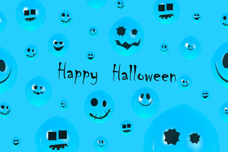 inscription happy halloween over blue background