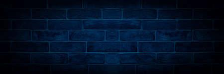 blue toned brick wall, panoramic mock-up image 免版税图像