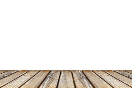 empty wooden table top view isolated on white background 免版税图像