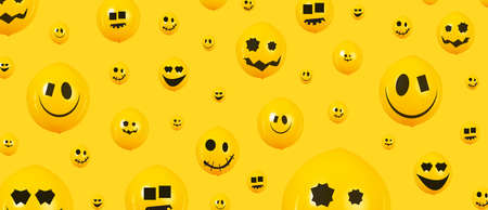 Halloween balloons over yellow background, happy holiday, panoramic image
