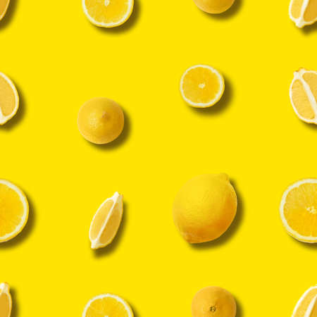 seamless lemon pattern on yellow background