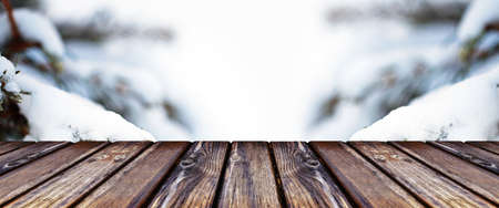 Empty wooden table  of winter forest 免版税图像 - 152977329