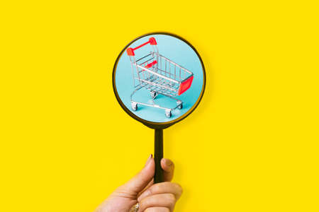 Shopping search concept, shopping cart over magnifier